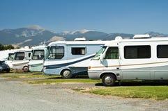 RVs en un camping Fotografía de archivo