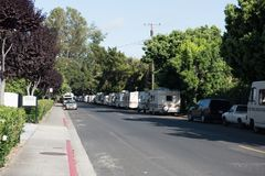 RVs parked along city streets in Mountain View, CA stock photo