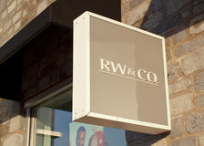 RW&CO商店标志 库存照片