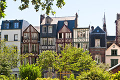 A Rw of Half Timbered Houses in Rouen Stock Images