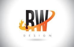 RW R W Letter Logo with Fire Flames Design and Orange Swoosh. RW R W Letter Logo Design with Fire Flames and Orange Swoosh Vector Illustration Royalty Free Stock Images