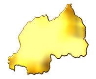 Rwanda 3d Golden Map. Isolated in white Royalty Free Stock Photo