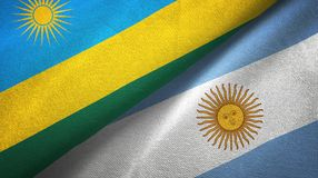Rwanda and Argentina two flags textile cloth, fabric texture. Rwanda and Argentina flags together textile cloth, fabric texture stock illustration