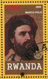 Marco Polo printed by Rwanda. RWANDA - CIRCA 2009: stamp printed by Rwanda, shows Marco Polo, circa 2009 stock photo