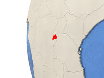Rwanda on 3D globe Stock Images