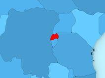 Rwanda on 3D map Stock Photo