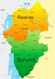 Rwanda e Burundi Fotografia de Stock Royalty Free