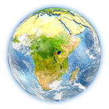 Rwanda on Earth isolated. Rwanda highlighted in red on planet Earth. 3D illustration isolated on white background. Elements of this image furnished by NASA Royalty Free Stock Image