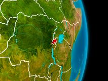 Rwanda on Earth. Rwanda in red on planet Earth with visible borderlines. 3D illustration. Elements of this image furnished by NASA Stock Photo