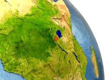 Rwanda on Earth in red Royalty Free Stock Photo