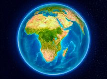 Rwanda on Earth. Rwanda in red from Earth's orbit. 3D illustration. Elements of this image furnished by NASA Royalty Free Stock Photos