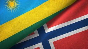 Rwanda en Noorwegen twee vlaggen textieldoek, stoffentextuur stock illustratie