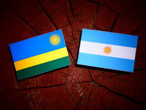 Rwanda flag with Argentinian flag on a tree stump. Rwanda flag with Argentinian flag on a tree stump Stock Photography