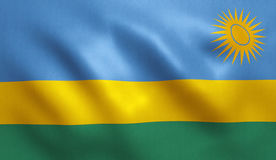 Rwanda Flag. With fabric texture. 3D illustration Royalty Free Stock Photography
