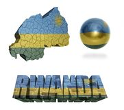 Rwanda Symbols. Rwanda flag and map in different styles in different textures Royalty Free Stock Images
