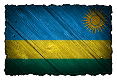 Rwanda flag. Painted on wooden tag Royalty Free Stock Image