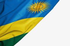 Rwanda flagga av tyg med copyspace f?r din text p? vit bakgrund vektor illustrationer
