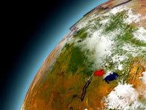 Rwanda från omlopp av modellen Earth Arkivbild