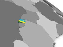 Rwanda on globe with flag Stock Image