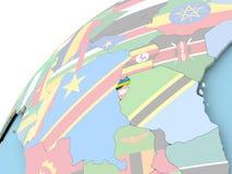 Rwanda on globe with flag Royalty Free Stock Photo
