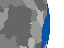 Rwanda on globe with flag Royalty Free Stock Photos