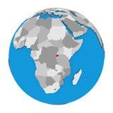 Rwanda on globe Royalty Free Stock Photo