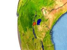 Rwanda on globe Stock Image