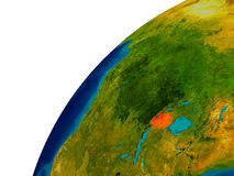 Rwanda on globe. Rwanda in red on topographic globe. 3D illustration with detailed planet surface. Elements of this image furnished by NASA Royalty Free Stock Images