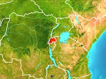 Map of Rwanda. Rwanda highlighted in red from Earth's orbit. 3D illustration. Elements of this image furnished by NASA Stock Photography