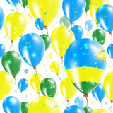 Rwanda Independence Day Seamless Pattern. Flying Rubber Balloons in Colors of the Rwandan Flag. Happy Rwanda Day Patriotic Card with Balloons, Stars and Stock Photography