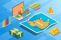Rwanda isometric financial economy condition concept for describe country growth expand - vector. Illustration stock illustration