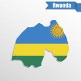 Rwanda map with flag inside and ribbon Royalty Free Stock Photo