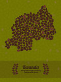 Rwanda map made of roasted coffee beans. Vector illustration. Royalty Free Stock Images