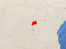 Rwanda on map. Rwanda in red on political map with watery oceans. 3D illustration Stock Image