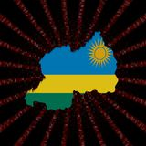Rwanda mapy flaga na czerwonej hex kodu wybuchu ilustraci Obrazy Stock