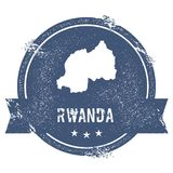 Rwanda mark. Travel rubber stamp with the name and map of Rwanda, vector illustration. Can be used as insignia, logotype, label, sticker or badge of the Royalty Free Stock Photos