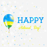 Rwanda National Day patriotic poster. Flying Rubber Balloon in Colors of the Rwandan Flag. Rwanda National Day background with Balloon, Confetti, Stars, Bokeh Stock Images
