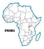 Rwanda Africa Map. Rwanda outline inset into a map of Africa over a white background Stock Photography