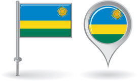 Rwanda pin icon and map pointer flag. Vector Royalty Free Stock Photos