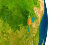 Rwanda on planet Royalty Free Stock Image