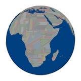 Rwanda on political globe Stock Images