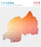 Rwanda polygonal map, mosaic style country. Beauteous low poly style, modern design. Rwanda polygonal map for infographics or presentation Stock Photography