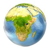 Rwanda in red on full Earth Stock Photos