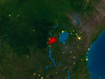 Rwanda in red at night. Satellite night view of Rwanda highlighted in red on planet Earth. 3D illustration. Elements of this image furnished by NASA Stock Photo