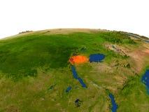 Rwanda in red from orbit Royalty Free Stock Photo