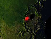 Rwanda in red from space at night Stock Photos