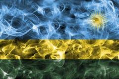 Rwanda smoke flag. Isolated on a black background Royalty Free Stock Image