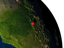 Rwanda from space. Rwanda highlighted in red on model of planet Earth with very detailed land surface and visible city lights. 3D illustration. Elements of this Royalty Free Stock Image