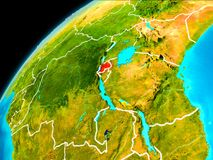 Rwanda from space. Orbit view of Rwanda highlighted in red with visible borderlines on planet Earth. 3D illustration. Elements of this image furnished by NASA Royalty Free Stock Photos