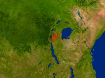 Rwanda from space in red Stock Photo